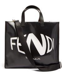 Fendi Ffフィッシュアイ キャンバストートバッグ - ブラック