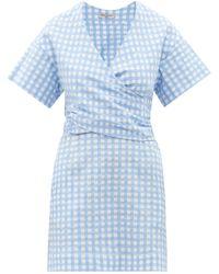 Three Graces London フローラ ギンガムコットンシアサッカードレス - ブルー