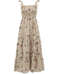 SIR - Stella Shirred Floral-print Linen Dress - Lyst