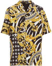 Versace Baroque-print Silk-twill Shirt - Multicolour