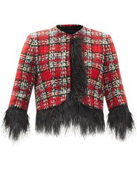 Halpern Cropped Feather-trimmed Tweed Suit Jacket - Red