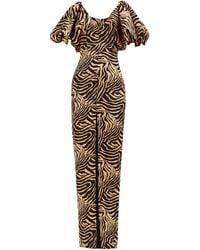 Rasario Puff-sleeve Tiger-print Crepe Dress - Natural