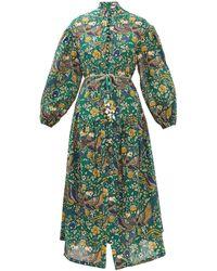 Zimmermann Edie Balloon-sleeve Peacock-print Cotton Dress - Green