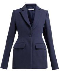 Marina Moscone Single Breasted Basque Shaped Wool Blend Blazer - Blue