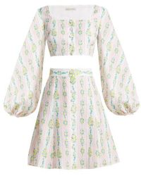 Emilia Wickstead - Ines Floral-print Linen Crop Top And Skirt - Lyst