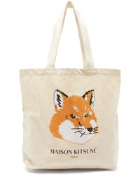 Maison Kitsuné Fox Head Logo Print Cotton Canvas Tote Bag - Natural