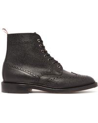 61069bc15a3 Thom Browne - Wingtip Pebbled Leather Brogue Boots - Lyst