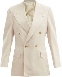 Umit Benan B+ Andy Double-breasted Silk-twill Suit Jacket - Natural