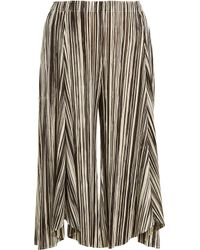 Pleats Please Issey Miyake - Striped Wide-leg Pleated Culottes - Lyst