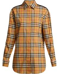 Burberry - Saorise Vintage Check Satin Striped Sleeve Shirt - Lyst
