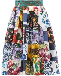 Dolce & Gabbana パッチワーク フローラル コットンブレンドスカート - ブルー