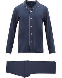 Derek Rose Basel Piped-trim Modal Pyjamas - Blue