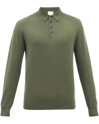 Allude Long-sleeved Cashmere Polo Jumper - Green