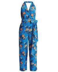 Diane von Furstenberg - Silese-print Wide-leg Silk Jumpsuit - Lyst