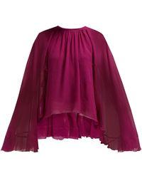 Giambattista Valli Cape Sleeve Silk Georgette Blouse - Pink