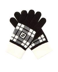 Fendi - Ff Tartan Wool Gloves - Lyst