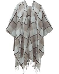 Acne Studios Cassiar Checked Wool Poncho - Gray