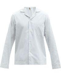 Tekla Striped Organic-cotton Pyjama Shirt - Blue
