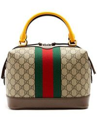 Gucci - Gg Supreme Canvas And Leather Bag - Lyst