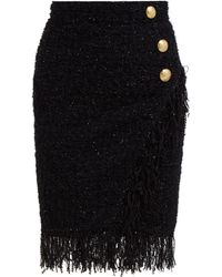 Balmain Mid Thigh High Waist 3 Button Wrap Skirt - Black