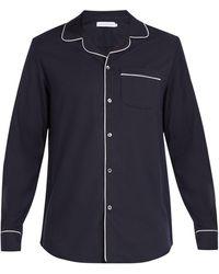 Desmond & Dempsey ブラッシュドコットン パジャマシャツ - ブルー