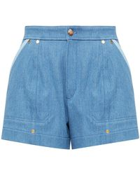Chloé High-rise Two-tone Denim Shorts - Blue