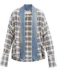 Greg Lauren Chemise en coton à motif tartan Colyton GL1 - Bleu