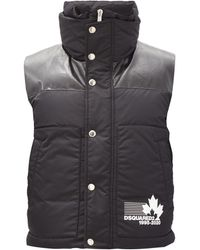 DSquared² - Faux Leather-panel Quilted-down Shell Gilet - Lyst