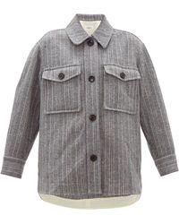 Étoile Isabel Marant Veste-chemise en laine rayée Garvey - Gris