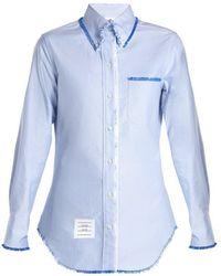 Thom Browne - Button-down Collar Cotton Shirt - Lyst