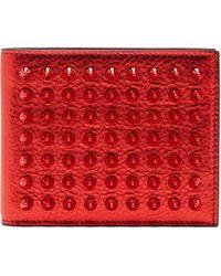 Christian Louboutin Coolcard Studded Metallic-leather Bi-fold Wallet - Red