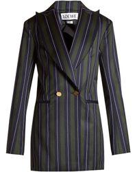Loewe - Striped Double Breasted Wool Blend Blazer - Lyst