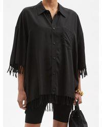 Balenciaga オーバーサイズ フリンジシャツ - ブラック