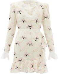 Giambattista Valli Floral-embroidered Chantilly Lace Mini Dress - Multicolour