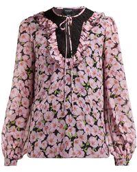 Giambattista Valli Floral Print Silk Chiffon Blouse - Multicolour