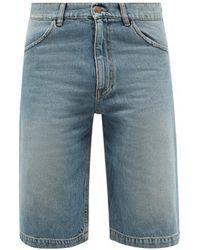 ERL Topstitched Denim Shorts - Blue