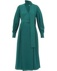 Emilia Wickstead Robe midi en crêpe à foulard à nouer Farnia - Vert