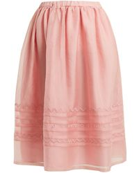 Jupe by Jackie | Griggs Embroidered Silk-organza Midi Skirt | Lyst
