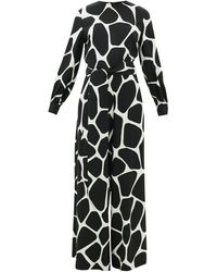 Valentino Combinaison en crêpe de soie à motif girafe 1966 - Noir