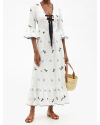 Lug Von Siga Diana Floral-embroidered Linen Midi Dress - White