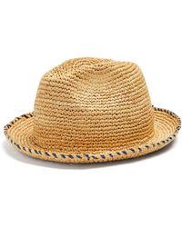 Federica Moretti - Gil Contrasting Brim-stitch Straw Hat - Lyst