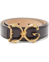 Dolce & Gabbana Baroque Monogram-buckle Leather Belt - Black