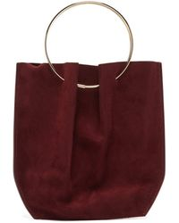 The Row Flat Micro Ring-handle Suede Bag - Red