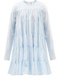 Merlette Soliman Tiered Cotton-voile Dress - Blue
