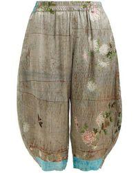 By Walid - Kavita Chrysanthemum-print Silk Cropped Trousers - Lyst