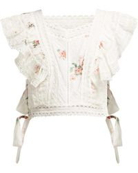 Zimmermann Heathers Floral-print Embroidered Crop Top - White