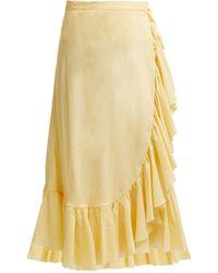 Loup Charmant Ruffle-trim Cotton Midi Skirt - Yellow
