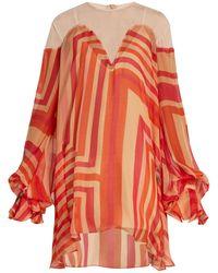 Katie Eary - Geo Print Silk Chiffon Dress - Lyst