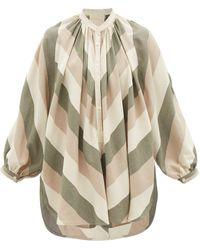 Marrakshi Life Chevron-striped Cotton-canvas Tunic - Natural