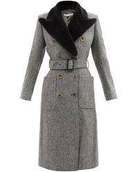 Bella Freud パルマー シアリングカラー ウールツイードコート - グレー